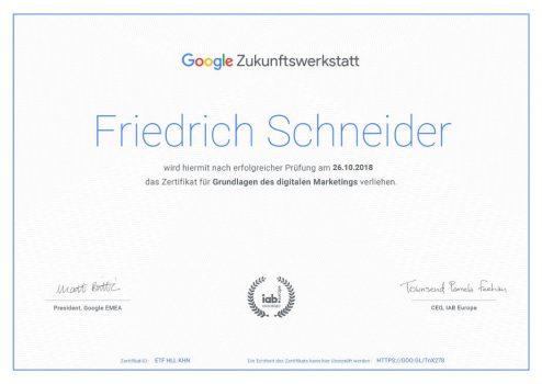 Zertifikat digitales Marketing